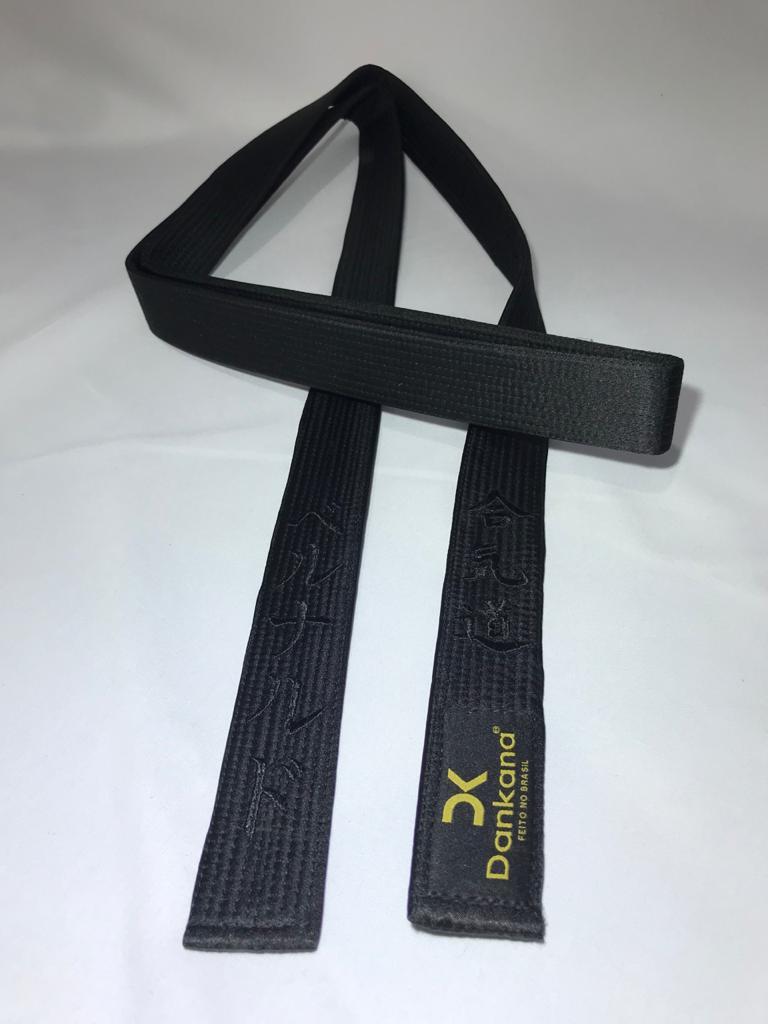 Faixa Preta de Cetim Personalizada Aikido