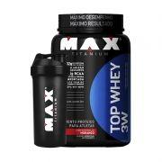 Top Whey 3W + Coqueteleira Grátis Max Titanium 900 G