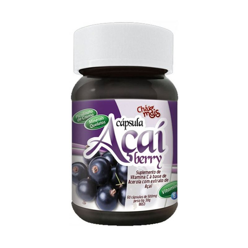 Açaí Berry (500 Mg) Chá Mais 60 Caps