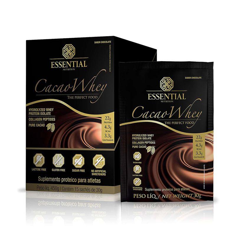 Cacao Whey (15 Sachês) Essential Nutrition 30g cada Chocolate