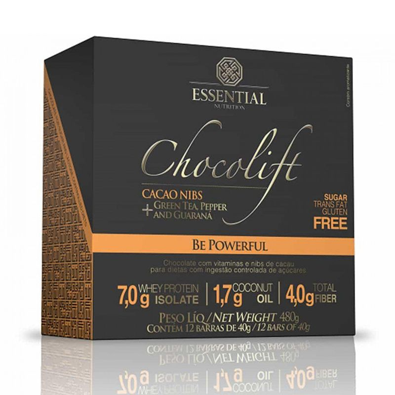 Chocolift Be Powerful (12 Unid.) Essential Nutrition 40g cada Nibs de Cacau