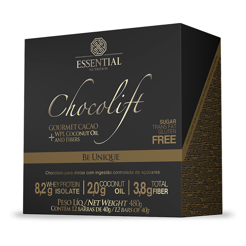 Chocolift Be Unique (12 Unid.) Essential Nutrition 40g cada Cacau Gourmet