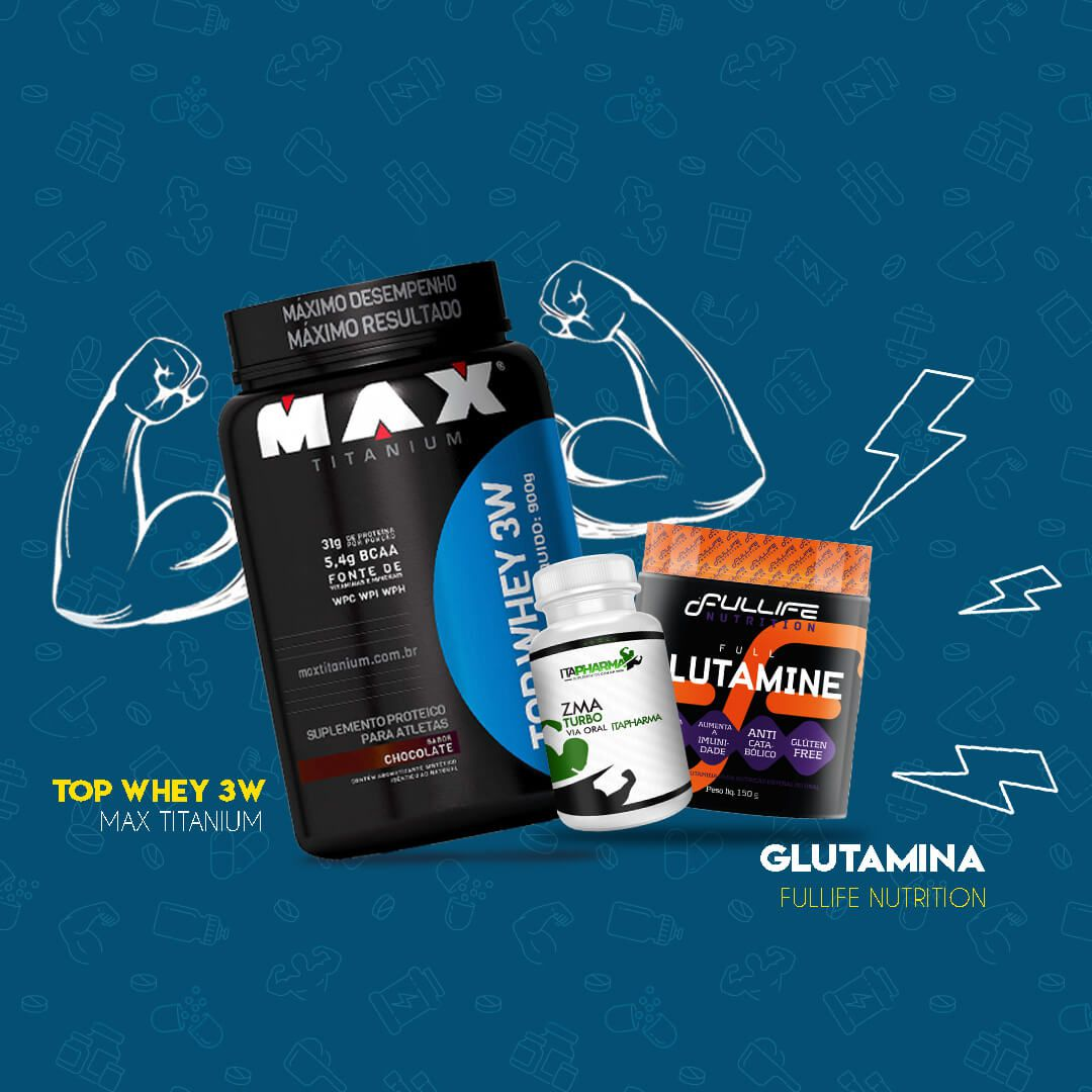 Kit Top Whey 3W + Glutamina + 30 Doses de ZMA Turbo