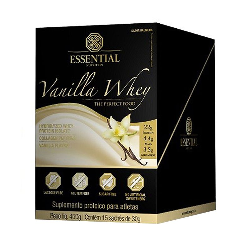 Vanilla Whey (15 Sachês) Essential Nutrition 30g cada Baunilha