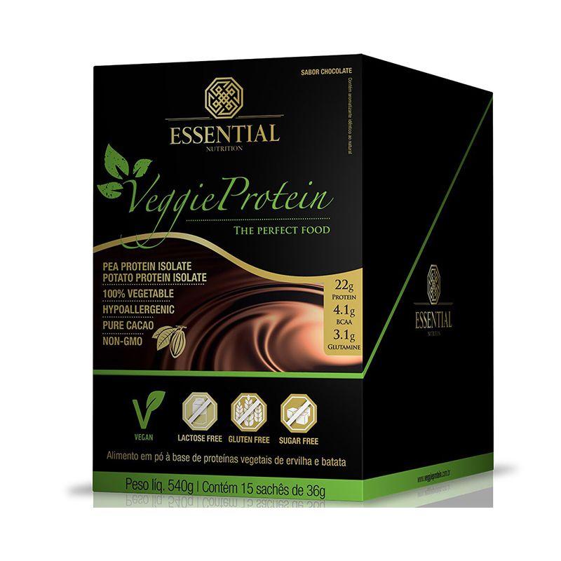 Veggie Protein (15 Sachês)  Essential Nutrition 36g cada Chocolate