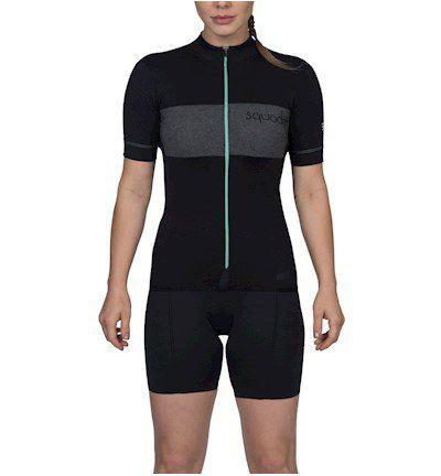 Camisa Ciclismo Squadra Woom Preto e Tiffany - Fem - 2019