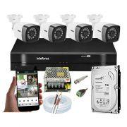 2 - Kits CFTV 4 Câmeras Bullet TWG DVR Intelbras MHDX 1104 + Hd 1TB - Frete