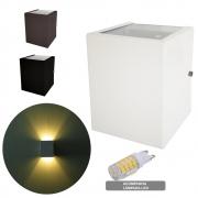 Arandela Cubo 2 Focos Quadrada 10 x 10 x 12,5cm Bivolt + Lâmpada LED G9 Halopin 5w