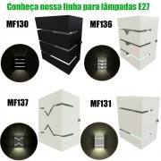 Arandela Eco Retangular 3 Frisos 2 Focos Bivolt Externa E27 Mf130 - Mega Forte