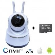 Câmera IP Robô WI-FI AHD 720p 1.0MP + Cartão de Memoria 32GB
