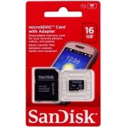 Cartão Micro SD Sandisk 16GB  com Adaptador Original