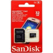 Cartão Micro SD Sandisk 32GB  com Adaptador Original