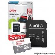 Cartão Micro SD Sandisk 32GB Ultra Classe 10 com Adaptador Original