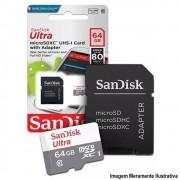 Cartão Micro SD Sandisk 64GB Ultra Classe 10 com Adaptador Original