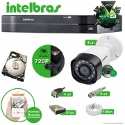 Kit Cftv 4 Câmeras VHD 1010B Bullet 720p Dvr 8 Canais Intelbras MHDX + HD 250GB