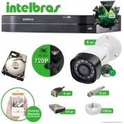 Kit Cftv 4 Câmeras Multi HD VHD 1010B Bullet Infravermelho 3,6MM 720p Dvr 8 Canais Intelbras MHDX 5 em 1 AHD, HDCVI, HDTVI E ANALOGICO E IP + HD 250GB