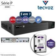 DVR Stand Alone Tecvoz TW P3004 04 Ch 1080p Flex 5 em 1 AHD + HD WD 2TB Purple de CFTV