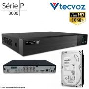 DVR Stand Alone Tecvoz TW P3008 8Ch 1080p Flex 5 em 1 AHD + HD 500GB Pipeline de CFTV
