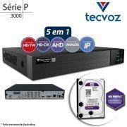 DVR Stand Alone Tecvoz TW P3008 8Ch 1080p Flex 5 em 1 AHD + HD WD 1TB Purple de CFTV