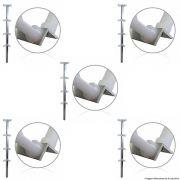 """Kit 5 Hastes de Canto """"cantoneira"""" Cerca Elétrica 75cm Com 08 Isoladores"""