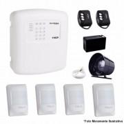 Kit Alarme Residencial Empresarial 4 Setor + 4 Sensores IVP Pet Com Fio ECP
