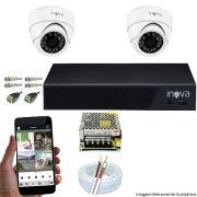 Kit Cftv 02 Câmeras Inova MULTHD 1020D Dome 720p Dvr 04 Canais Inova 1080N Mult-HD + Acessórios