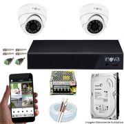 Kit Cftv 02 Câmeras Inova MULTHD 1020D Dome 720p Dvr 04 Canais Inova 1080N Mult-HD + HD 500GB