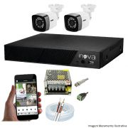 KIT CFTV 02 Câmeras TWG Starlight 720p DVR INOVA 4 Canais + Acessórios