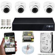 Kit Cftv 04 Câmeras Inova MULTHD 1020D Dome 720p Dvr 04 Canais Inova 1080N Mult-HD + HD 2TB
