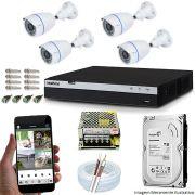 Kit Cftv 04 Câmeras Inova MULTHD 3225B Bullet 1080p Dvr 04 Canais Intelbras MHDX 3004 + HD 500GB