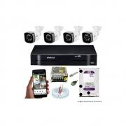 Kit Cftv 04 Câmeras Starlight 720P Dvr Intelbras Mhdx 1104 4 Canais + Acessórios