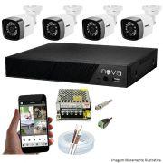 KIT CFTV 04 Câmeras TWG Starlight 720p DVR INOVA 4 Canais + Acessórios