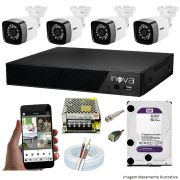 KIT CFTV 04 Câmeras TWG Starlight 720p DVR INOVA 4 Canais + HD 1TB WD