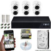 Kit Cftv 06 Câmeras Inova MULTHD 1020D Dome 720p Dvr 08 Canais Inova 1080N Mult-HD + HD 1TB