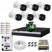 KIT CFTV 06 Câmeras VHL 1220 B 1080p DVR Intelbras Full HD 1080P 08 Canais + HD 2TB WD