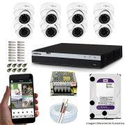 KIT CFTV 08 Câmeras INOVA 3220D 1080p DVR Intelbras Full HD 1080P 08 Canais + HD 2TB WD