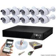 Kit Cftv 10 Câmeras AHD-M 720p Dvr 16 Canais Inova 5 em 1 HD + Acessórios