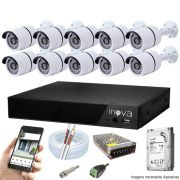 Kit Cftv 10 Câmeras AHD-M 720p Dvr 16 Canais Inova 5 em 1 HD + HD 1 TB