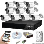 Kit Cftv 10 Câmeras AHD-M 720p Dvr 16 Canais Inova 5 em 1 HD + HD 500GB