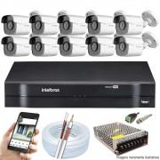 Kit Cftv 10 Câmeras AHD-M 720p Dvr 16 Canais MHDX Intelbras 5 em 1 + Acessórios