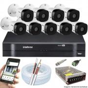 Kit Cftv 10 Câmeras Bullet HDCVI Lite VHL 1120B 720p G4 Dvr 16 Canais Intelbras MHDX + ACESSÓRIOS