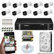Kit Cftv 10 Câmeras Bullet HDCVI Lite VHL 1120B 720p G4 Dvr 16 Canais Intelbras MHDX + HD 1TB