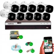 Kit Cftv 10 Câmeras Vhd 1120B Bullet 720P Dvr 16 Canais Intelbras Mhdx + Acessórios