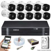 Kit Cftv 10 Câmeras VHD 1120B Bullet 720p Dvr 16 Canais Intelbras MHDX + HD 320GB