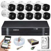 Kit Cftv 10 Câmeras VHD 1120B Bullet 720p Dvr 16 Canais Intelbras MHDX + HD 500GB
