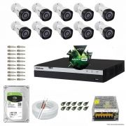 Kit Cftv 10 Câmeras VHD 1220B 1080P 3,6mm DVR Intelbras MHDX 3016 + HD 1TB BARRACUDA