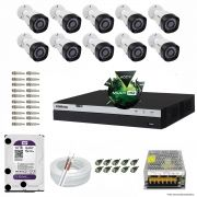 Kit Cftv 10 Câmeras VHD 1220B 1080P 3,6mm DVR Intelbras MHDX 3016 + HD 1TB WDP