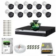 Kit Cftv 10 Câmeras VHD 1220B 1080P 3,6mm DVR Intelbras MHDX 3016 + HD 2TB BARRACUDA