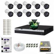 Kit Cftv 10 Câmeras VHD 1220B 1080P 3,6mm DVR Intelbras MHDX 3016 + HD 2TB WDP