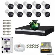 Kit Cftv 10 Câmeras VHD 1220B 1080P 3,6mm DVR Intelbras MHDX 3016 + HD 3TB WDP